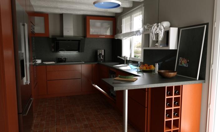3D hyper réalise d'une cuisine